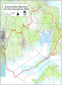 Topographic Map of Buzzards Bay Watershed with towns