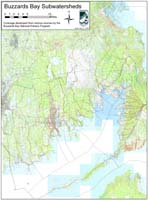 Topographic Map of Buzzards Bay subwatersheds with towns