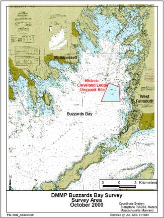 Map of historic Cleveland Ledge dredge material disposal site in Buzzards Bay.