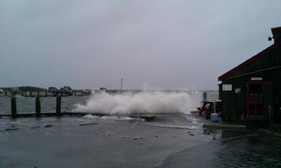 Patriots Boats Crab Shack decking being undermined by waves #2.
