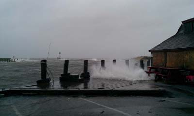 Patriots Boats Crab Shack decking being undermined by waves.