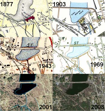 Tremont Iron Works Pond and Dam over Time