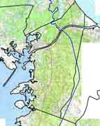 Bourne Topo map and basin boundary