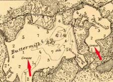 Eelgrass in Buttermilk Bay indicated on 1899 chart of Buzzards Bay
