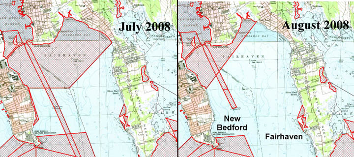 August 2008 shellfish bed openings in New Bedford and Fairhaven
