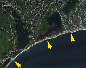 Google map showing the entrances of Oyster Pond (estuary), Salt Pond (estuary), and Siders Pond (fresh, salt stratified).