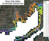 Map of MHW elevations in Buzzards Bay