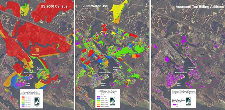 indications of seasonal population areas in the Wareham River estuary