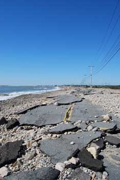 View of destroyed East Beach Road in Westport.