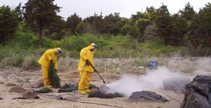 Oil Spill cleanup with Hotsys in Buzzards Bay at Barneys Joy, Dartmouth