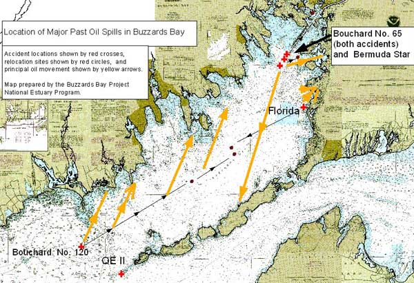 Map of Buzzards Bay oil spill locations.